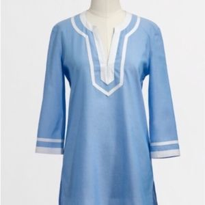 j crew | baby blue and white tunic